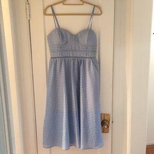 Just Me Light Blue Patterned Midi Dress